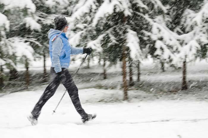 Nordic walking at winter time